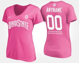 Ohio State Buckeyes Customized T-Shirts With Message #00 Womens Pink