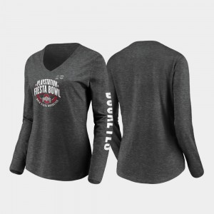 Ohio State Buckeyes T-Shirt Heather Charcoal Stiff Arm Long Sleeve V-Neck Women's 2019 Fiesta Bowl Bound