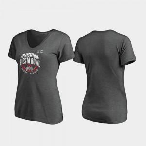 Ohio State Buckeyes T-Shirt Scrimmage V-Neck 2019 Fiesta Bowl Bound For Women Heather Gray