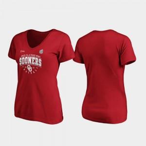 Oklahoma Sooners T-Shirt Ladies Tackle V-Neck Crimson 2019 Peach Bowl Bound