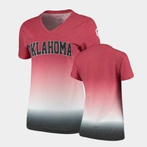 Oklahoma Sooners T-Shirt Ombre Crimson Womens V-Neck