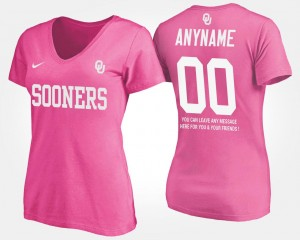 Oklahoma Sooners Customized T-Shirt #00 Women's With Message Pink