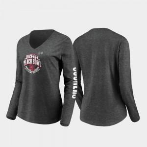 Oklahoma Sooners T-Shirt Ladies 2019 Peach Bowl Bound Heather Charcoal Stiff Arm Long Sleeve V-Neck