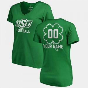 Oklahoma State Cowboys and Cowgirls Custom T-Shirts #00 Womens Kelly Green St. Patrick's Day V-Neck Dubliner Fanatics