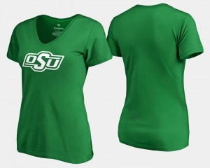 Oklahoma State Cowboys and Cowgirls T-Shirt St. Patrick's Day Kelly Green Women White Logo