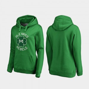 Ole Miss Rebels Hoodie For Women's Kelly Green Luck Tradition St. Patrick's Day