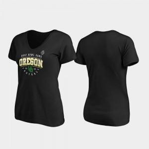 Oregon Ducks T-Shirt Ladies Tackle V-Neck 2020 Rose Bowl Bound Black
