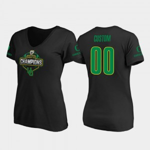 Oregon Ducks Custom T-Shirt Black 2019 PAC-12 North Football Division Champions #00 V-Neck Women's