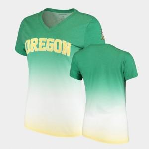 Oregon Ducks T-Shirt V-Neck Ombre Green For Women's