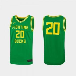 Oregon Ducks Jersey #20 Replica Green Women College Basketball