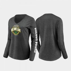 Oregon Ducks T-Shirt Ladies Heather Charcoal Stiff Arm Long Sleeve V-Neck 2020 Rose Bowl Bound