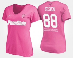 Penn State Nittany Lions Mike Gesicki T-Shirt Pink With Message Women #88