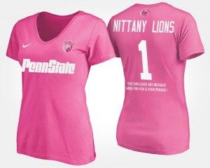 Penn State Nittany Lions T-Shirt For Women's Pink #1 No.1 Short Sleeve With Message