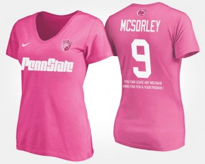 Penn State Nittany Lions Trace McSorley T-Shirt #9 With Message Pink Women's