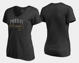 Purdue Boilermakers T-Shirt Black Graceful Ladies V-Neck