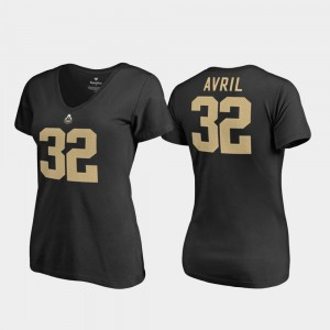 Purdue Boilermakers Cliff Avril T-Shirt V-Neck #32 Black College Legends Women