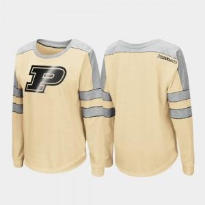 Purdue Boilermakers T-Shirt Gold For Women's Long Sleeve Trey Dolman