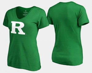 Rutgers Scarlet Knights T-Shirt Kelly Green St. Patrick's Day For Women White Logo