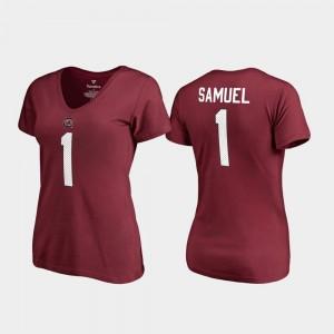 South Carolina Gamecocks Deebo Samuel T-Shirt Garnet Women #1 V-Neck Name & Number College Legends