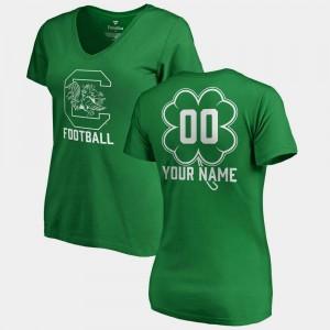 South Carolina Gamecocks Customized T-Shirts V-Neck Dubliner Fanatics Kelly Green #00 St. Patrick's Day Ladies