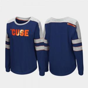 Syracuse Orange T-Shirt Navy Long Sleeve Womens Trey Dolman