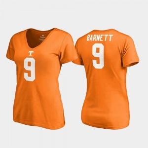 Tennessee Volunteers Derek Barnett T-Shirt For Women College Legends #9 Tennessee Orange V-Neck