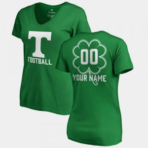 Tennessee Volunteers Customized T-Shirts Kelly Green St. Patrick's Day V-Neck Dubliner Fanatics #00 Ladies