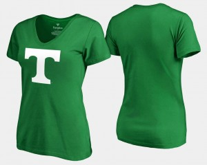 Tennessee Volunteers T-Shirt For Women's St. Patrick's Day Kelly Green White Logo