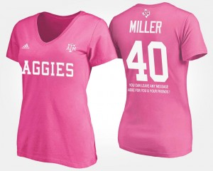 Texas A&M Aggies Von Miller T-Shirt With Message Pink For Women #40