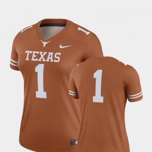 Texas Longhorns Jersey #1 For Women's Texas Orange Finished Replica College Football