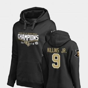 UCF Knights Adrian Killins Jr. Hoodie Ladies Black Goal #9 2018 Peach Bowl Champions