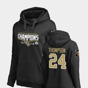 UCF Knights Bentavious Thompson Hoodie For Women #24 Black Goal 2018 Peach Bowl Champions
