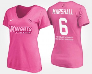 UCF Knights Brandon Marshall T-Shirt With Message Pink #6 Ladies