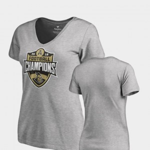 UCF Knights T-Shirt Heather Gray V-Neck 2018 AAC Football Champions For Women