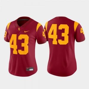 USC Trojans Jersey College Football Cardinal Game #43 For Women's