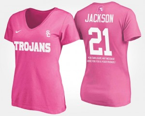 USC Trojans Adoree' Jackson T-Shirt #21 With Message Pink Womens