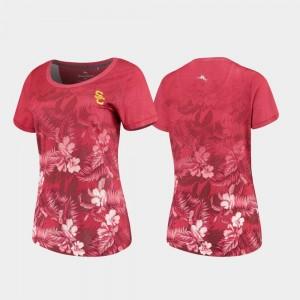 USC Trojans T-Shirt Tommy Bahama Womens Cardinal Floral Victory