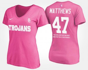 USC Trojans Clay Matthews T-Shirt With Message #47 Pink For Women's