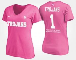 USC Trojans T-Shirt Pink Womens No.1 Short Sleeve With Message #1