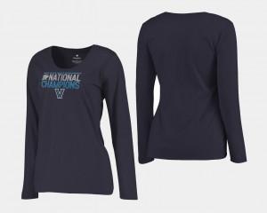 Villanova Wildcats T-Shirt Basketball National Champions 2018 Dribble Long Sleeve Navy Ladies