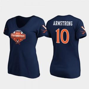 Virginia Cavaliers Brennan Armstrong T-Shirt 2019 ACC Coastal Football Division Champions V-Neck #10 For Women Navy