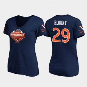 Virginia Cavaliers Joey Blount T-Shirt V-Neck Navy 2019 ACC Coastal Football Division Champions Women's #29