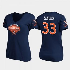 Virginia Cavaliers Zane Zandier T-Shirt For Women's #33 Navy V-Neck 2019 ACC Coastal Football Division Champions