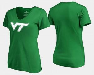 Virginia Tech Hokies T-Shirt White Logo Women's St. Patrick's Day Kelly Green
