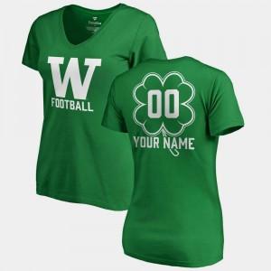 Washington Huskies Customized T-Shirts Womens #00 St. Patrick's Day Kelly Green V-Neck Dubliner Fanatics