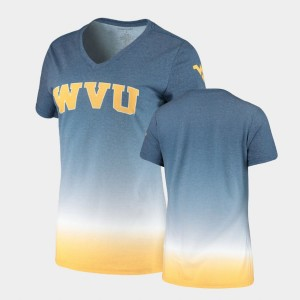 West Virginia Mountaineers T-Shirt For Women's Navy V-Neck Ombre