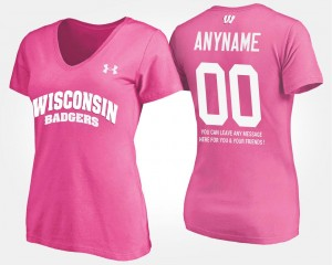Wisconsin Badgers Custom T-Shirts With Message Pink #00 Ladies