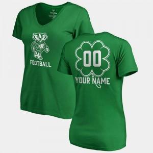 Wisconsin Badgers Custom T-Shirts Women Kelly Green V-Neck Dubliner Fanatics St. Patrick's Day #00
