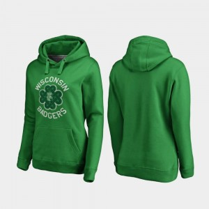 Wisconsin Badgers Hoodie Luck Tradition Kelly Green Women's St. Patrick's Day