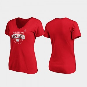 Wisconsin Badgers T-Shirt Red Tackle V-Neck Women 2020 Rose Bowl Bound